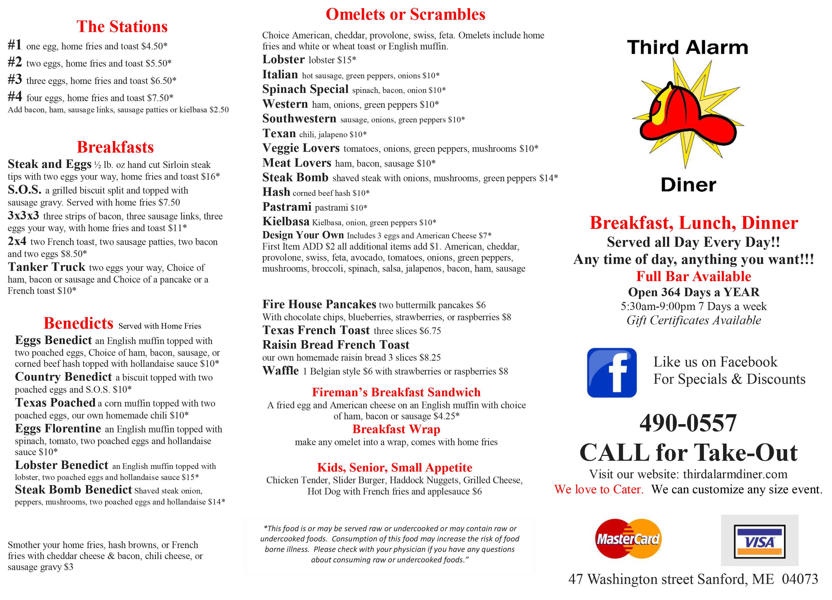 Menu: Sanford, Waterboro, ME | Third Alarm Diner